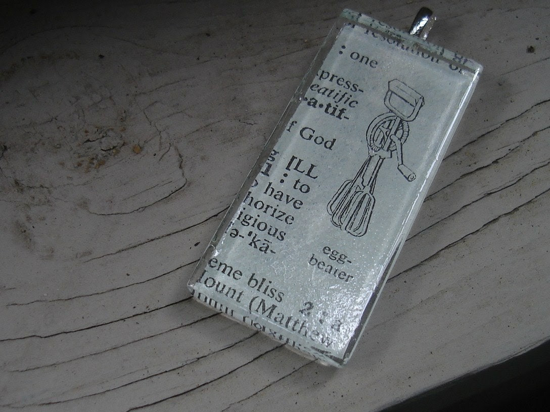 Dictionary Pendant Egg Beaters