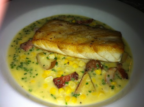 California Sea Bass with Corn Chowder, Pancetta, Fingerling Potatoes and Chives