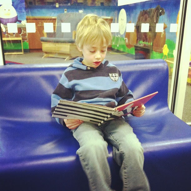 Reading a book at the library...
