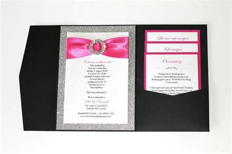 Silver Glitter, Hot Pink and Black Wedding Invitations