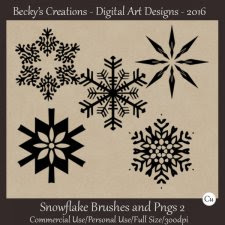 Snowflake Brushes and Pngs 02 - ABR, PNG - Beckys Creations