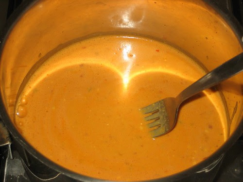 pot of vegan nacho cheese dip on the stove