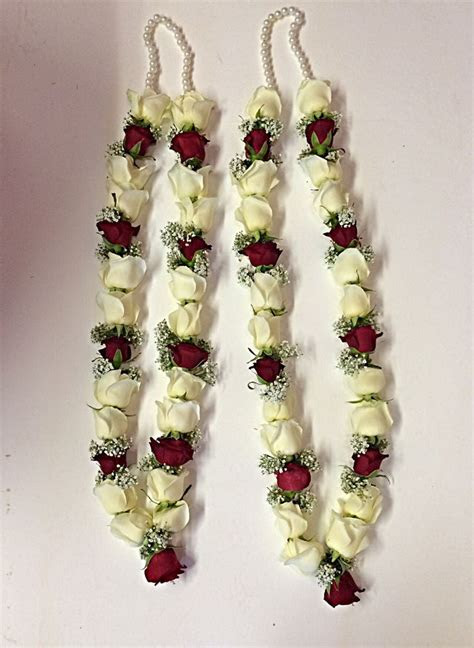 Red and white rose garland   Wedding Garlands in 2019