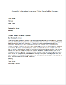 Complaint Letter about Insurance Policy Cancelled by ...