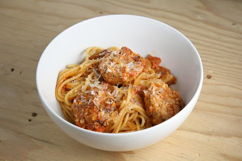 Spaghetti All'Amatriciana with Spicy Smoked Mozzarella Meatballs