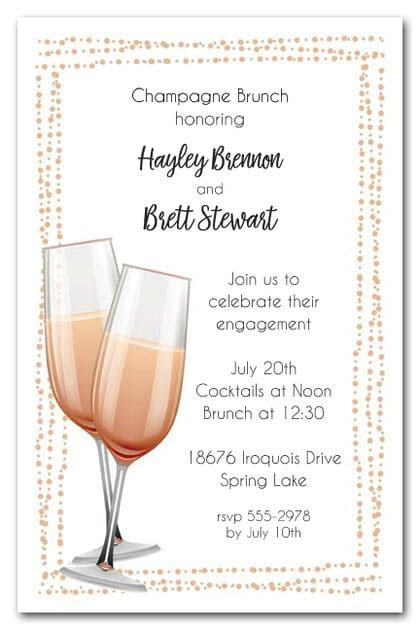 Peach Champagne Flutes Brunch & Luncheon Invitations