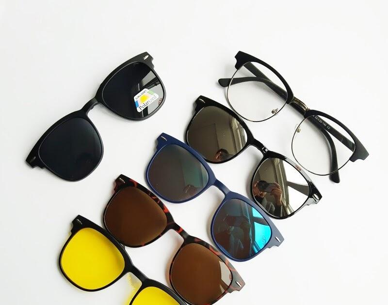 8abf36a58 Comprar Armação De óculos Com 5 Pcs Clipe Em Óculos Sol Das Mulheres Dos  Homens Polarizados Magnéticos Definir Miopia Óptico Baratas Online Preço ~  ...