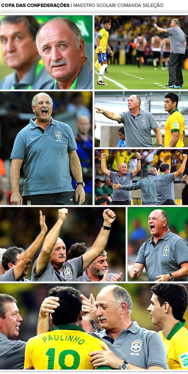 Mosaico Felipão jogo Brasil Uruguai (Foto: Editoria de Arte / Globoesporte.com)