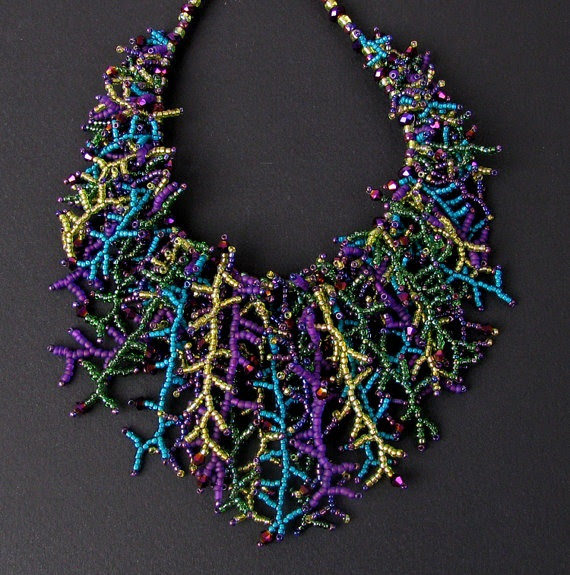 Peacock Seed Bead and Crystal Fringe Necklace