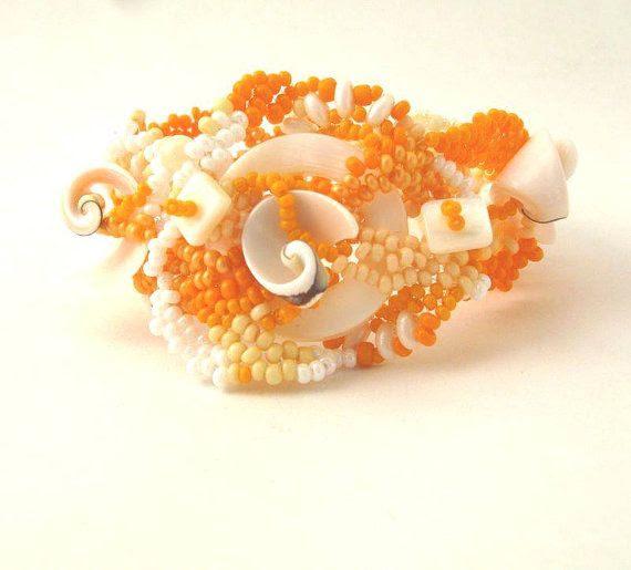 beaded jewelry, seed bead jewelry bracelet, beadwork bracelet, freeform peyote bracelet, handmade cuff bracelet, art bracelet, spring on Etsy, $70.00
