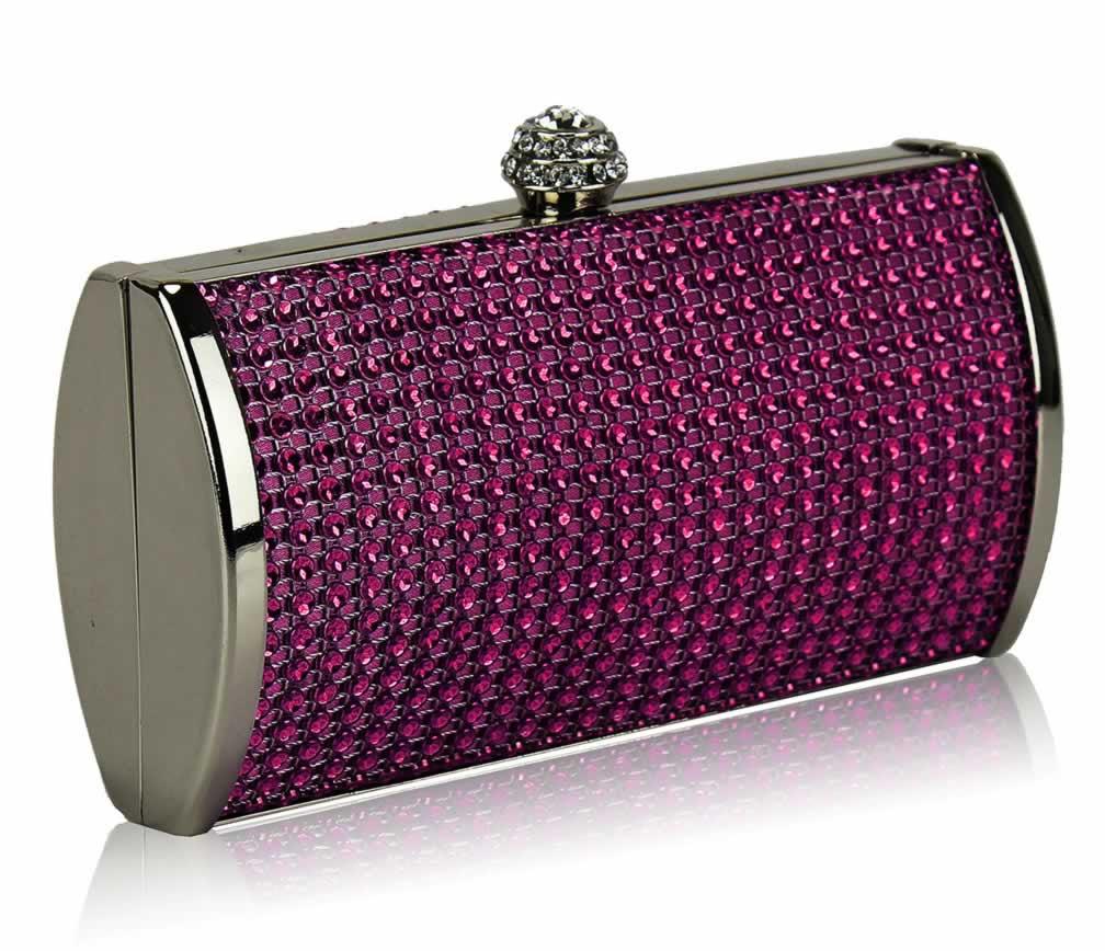 Home Clutch Bags LSE0081 - Purple Sparkly Diamante Evening Clutch