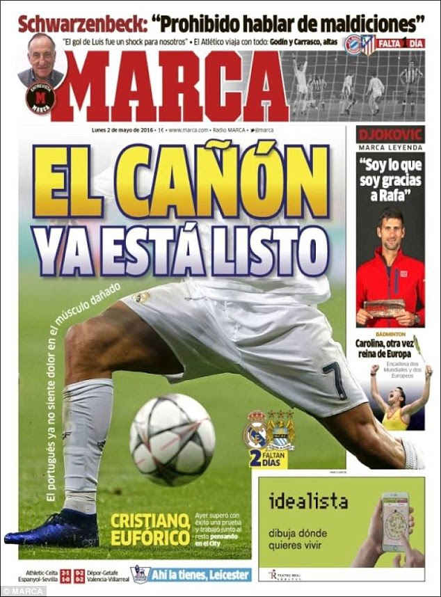 'The cannon is ready' was Marca's headline on Monday morning as they hailed Ronaldo's return