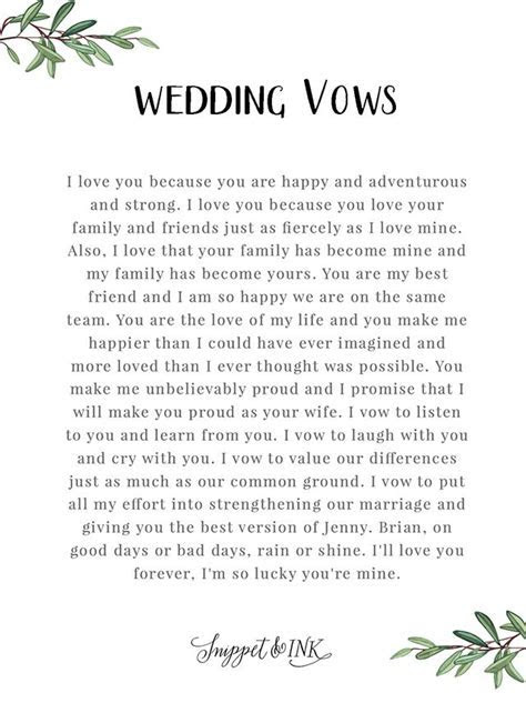 Authentic and Playful Wedding Vows from Her to Him   Slb