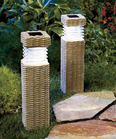 NEW Wireless Solar Outdoor Path Lighting Garden Pillars Woven Brick or Concrete