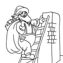 Coloriages Coloriage Père Noël Grimpant à La Cheminée Frhellokidscom