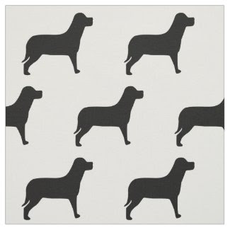 Labrador Dog Black And White Pattern Fabric