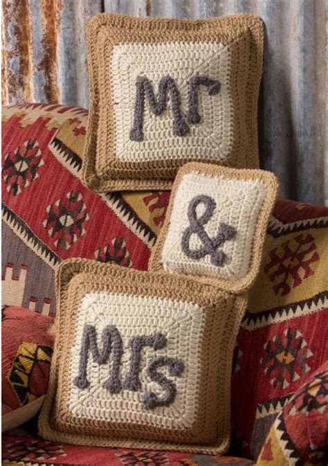 Mr & Mrs Crochet Pillows   AllFreeDIYWeddings.com