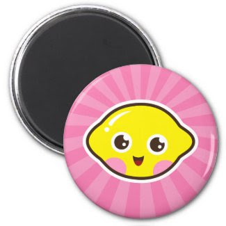 Cute kawaii lemon fridge magnet - pink background magnet