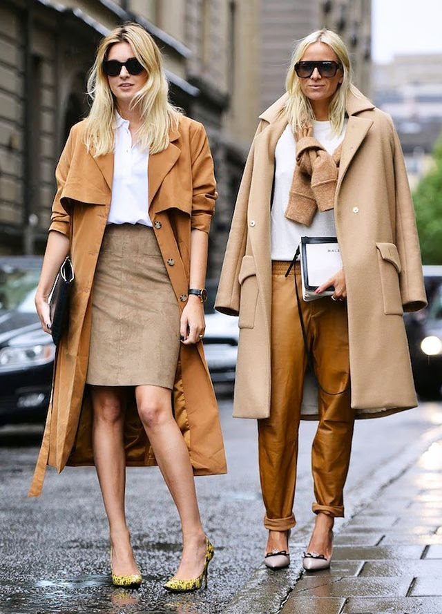 Try combining different shades of camel: