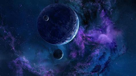 full hd wallpaper planet satellite violet cloud cluster