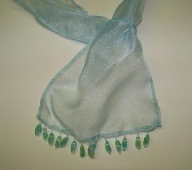 Handmade Scarf, Beaded Sheer Organza, Blue