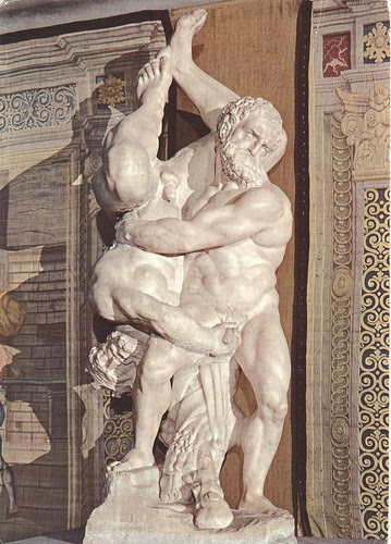 Hercules And Diomedes sculpture by Vincenzo de Rossi, 1550 Diomedes grabs Herc's junk!