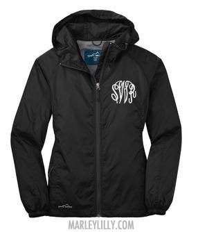 Monogrammed Black Eddie Bauer Windbreaker Jacket