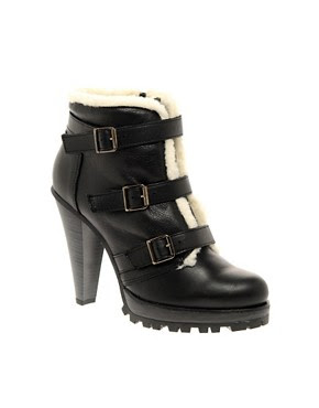 Image 1 ofASOS ADORE Leather and Shearling Buckle High Ankle Boot
