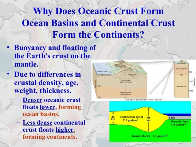 Why Does Oceanic Crust Form Ocean Basins and Continental Crust Form the Continents? • Buoyancy and floating of the Earth's...