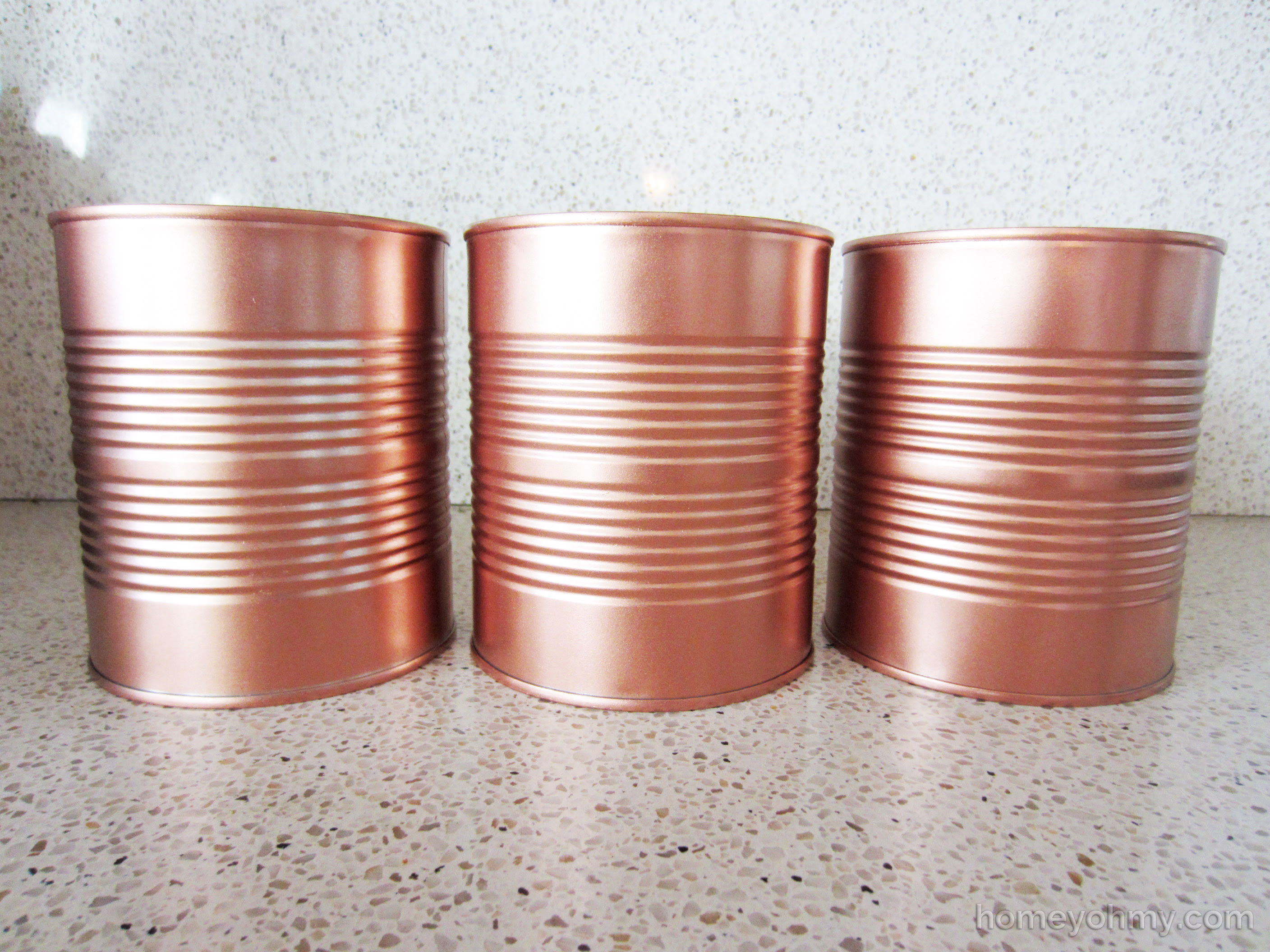 DIY Copper Tin Can Planters and Chalkboard Tags   Homey Oh My!