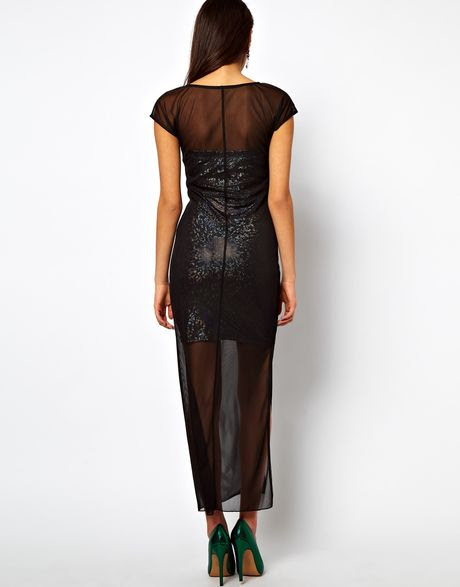 Tops london bodycon dress with sheer overlay for hiking tobi