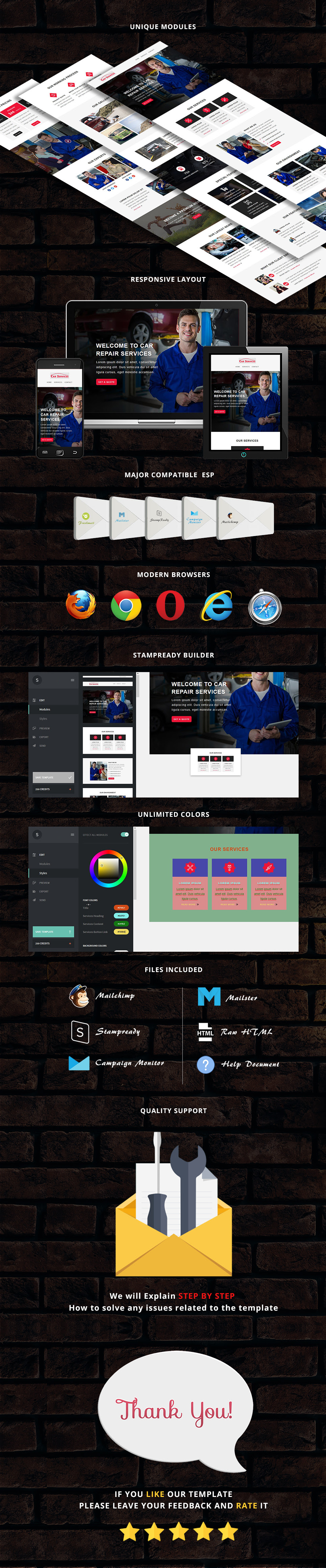 Car Services - Responsive Email Template + Stampready Builder