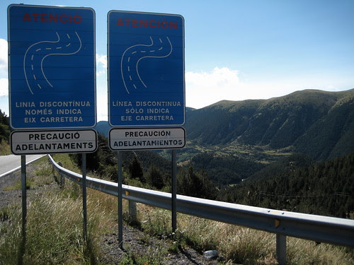Catalan and Spanish bilingual road signs in Spain