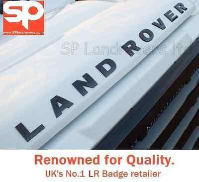 LAND-ROVER-DEFENDER-GLOSS-PIANO-BLACK-BONNET-BADGE-EMBLEM-90-TD5-110-DECAL-LETTE