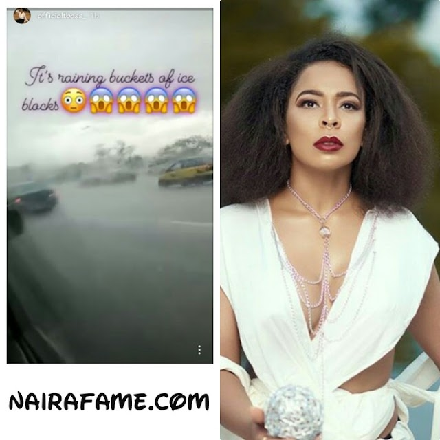 Tboss Caught Up As Hailstones Fall In Abuja (Photos)