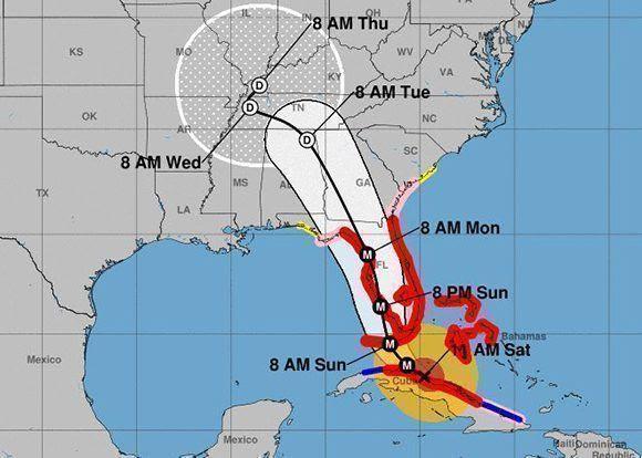 Trayectoria actualizada de Irma. Imagen: NOAA.