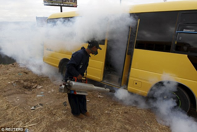 The virus is spreading across South America and one solution is to stem the outbreak by fumigating mosquitoes, pictured in Honduras