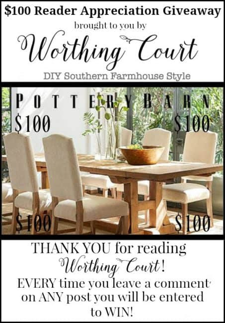 $100 Pottery Barn Gift Card Giveaway! Simply leave a comment on ANY blog post during the month of March 2017 to automatically be entered! || Worthing Court