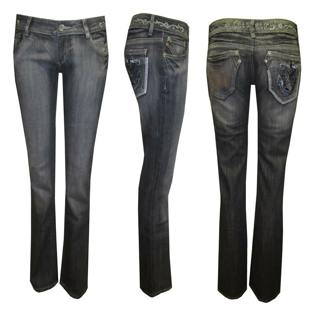 womens ladies diamante crown anchor pockets dark grey wash