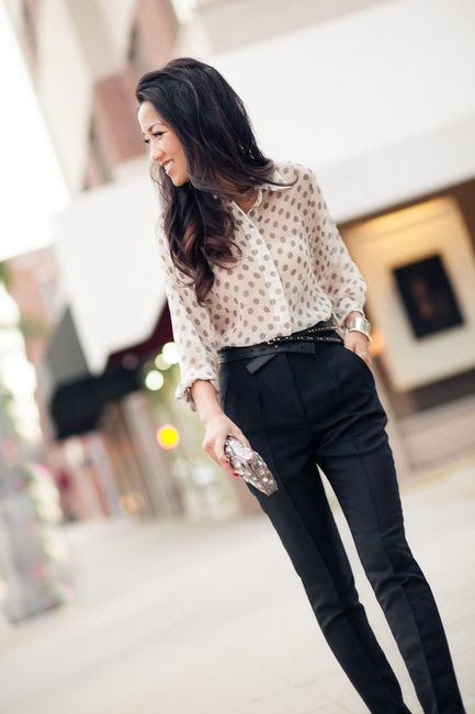 pencil leg high-waisted trousers