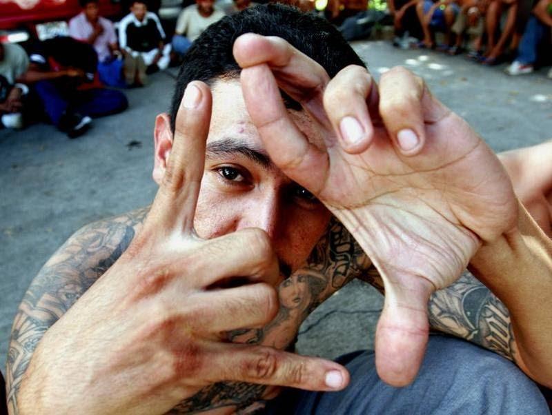 Et anholdt bandemedlem viser håndtegnet for Mara Salvatrucha. (Foto: AP/Luis Romero)