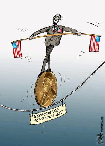 Cartoon: Nobel de Obama (medium) by martirena tagged nobel,de,obama