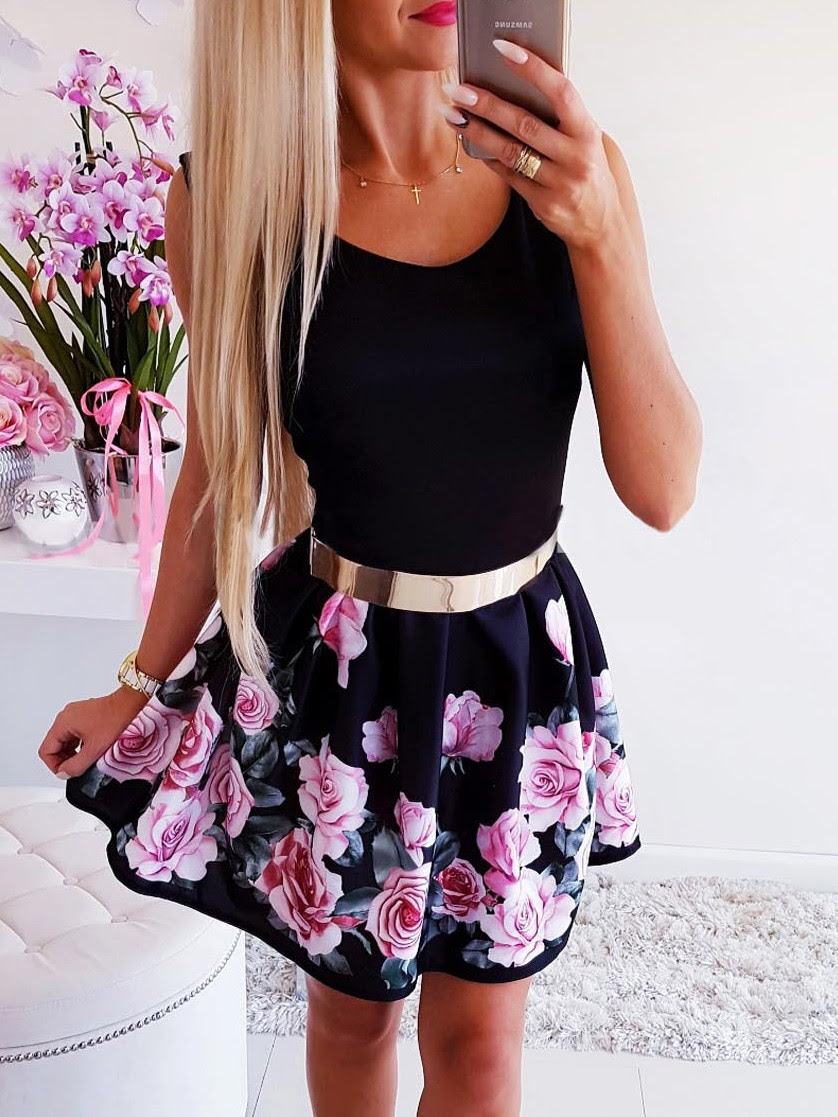 floral skater kleid with sleeves new style c0193 fdabb