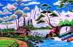 Gambar Pemandangan Gunung Lukisan Pemandangan Alam