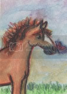 horse art,horse painting,aceo,mustang,animal art,millermodernart,miniature painting,etsy art,collectable art,abstract art,impressionism