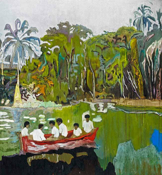 Peter Doig (Brit. 1959- ), Red Boat (Imaginary Boys), 2004, huile sur toile, 200 x 186cm, The Weston Collection