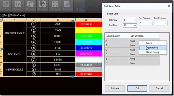Click to see animation of JTB Sort Table