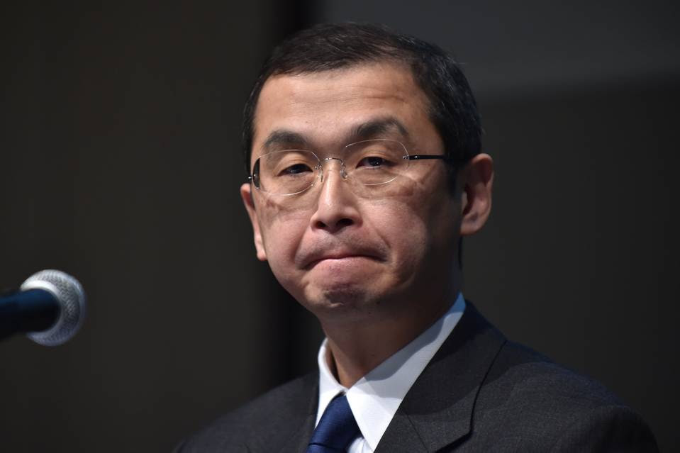Takata Corp Chairman Shigehisa Takada listens to questions during a press conference in Tokyo.