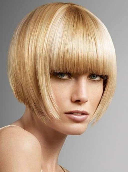 Inverted Bob Hair Style with blunt bangs  Hairstyles Weekly