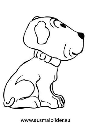 Ausmalbilder Sitzende Welpe - Hunde Malvorlagen